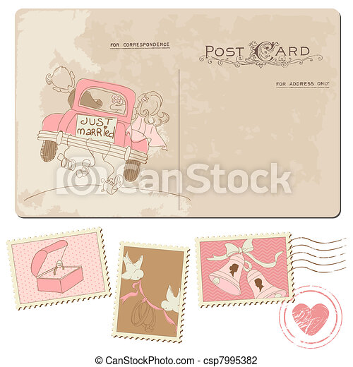 Vintage Postcard and Postage Stamps - for wedding design, invitation, congratulation, scrapbook - csp7995382