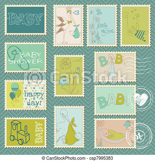 Baby Boy Postage Stamps - arrival, announcement, congratulation - csp7995383