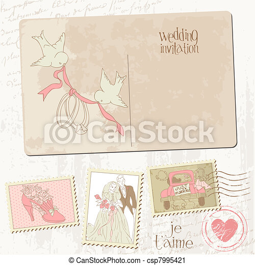 Vintage Postcard and Postage Stamps - for wedding design, invitation, congratulation, scrapbook - csp7995421