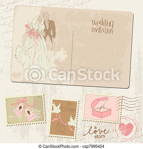 Vintage Postcard and Postage Stamps - for wedding design, invitation, congratulation, scrapbook - csp7995424