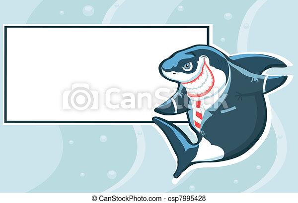 Cartoon shark in the suit with copy - csp7995428