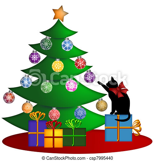 Christmas Tree with Presents Ornaments and Cat - csp7995440
