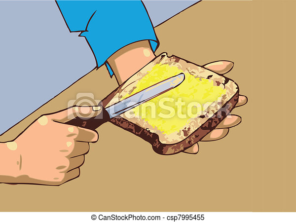 Man applying butter on bread - csp7995455