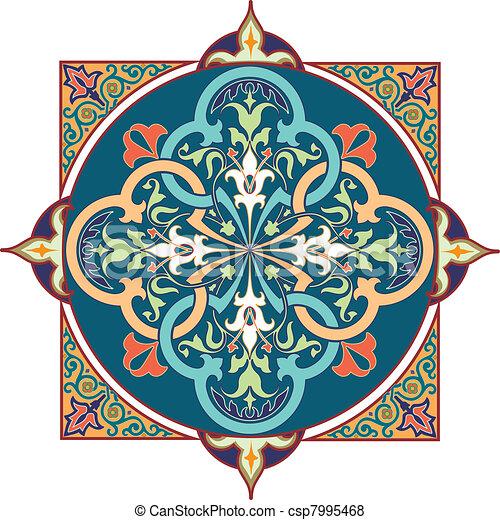 Arabic floral pattern motif Arabic  - csp7995468