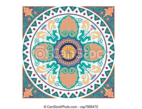 Detailed Arabic motif ornament - csp7995472