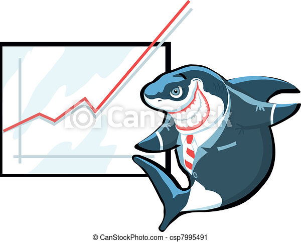 Successful cartoon shark in suit gi - csp7995491