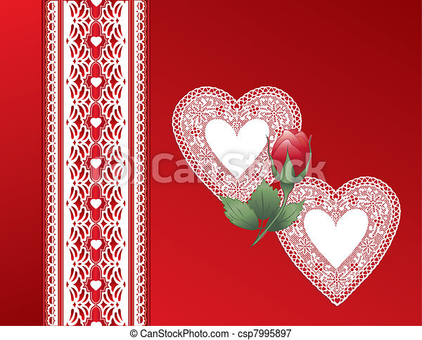 Vintage Lace Heart, Red Satin Gift  - csp7995897