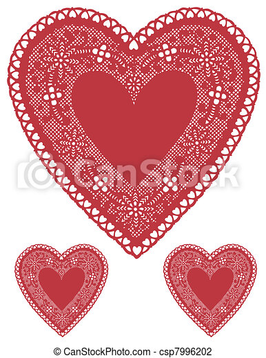 Antique Red Lace Heart Doilies - csp7996202