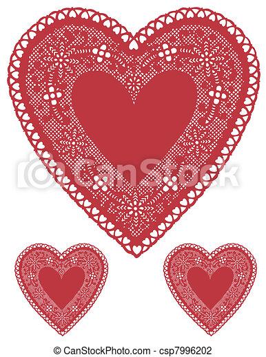 Antique Red Lace Heart Doilies - csp7996202