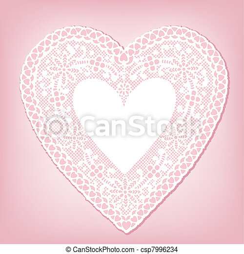 Antique White Lace Heart Doily - csp7996234