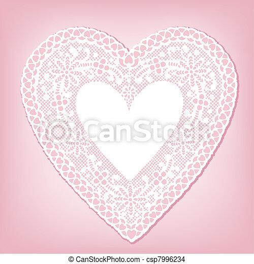 Antique White Lace Heart Doily - csp7996234