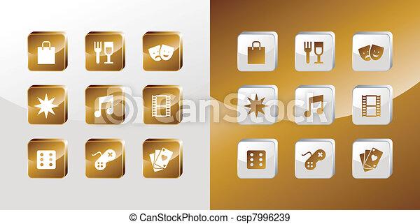 Entertainment gold icons set - csp7996239