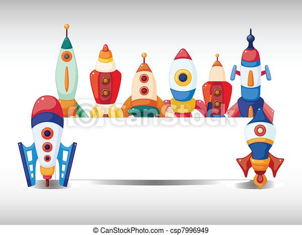 cartoon spaceship card - csp7996949