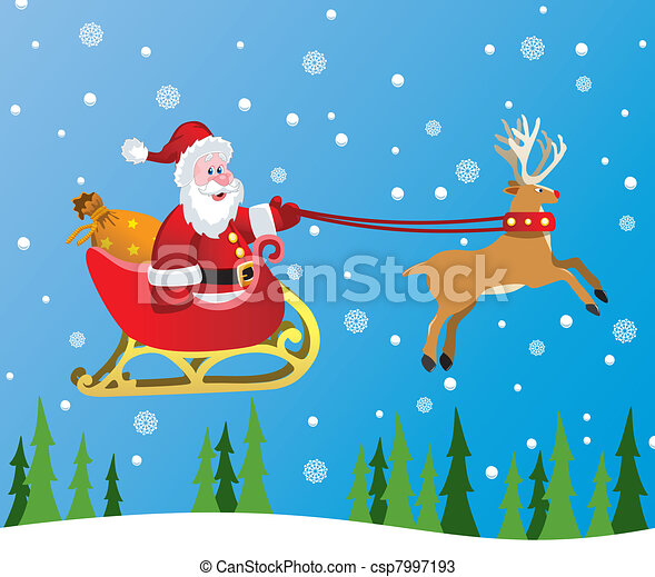 santa claus and red nosed reindeer - csp7997193