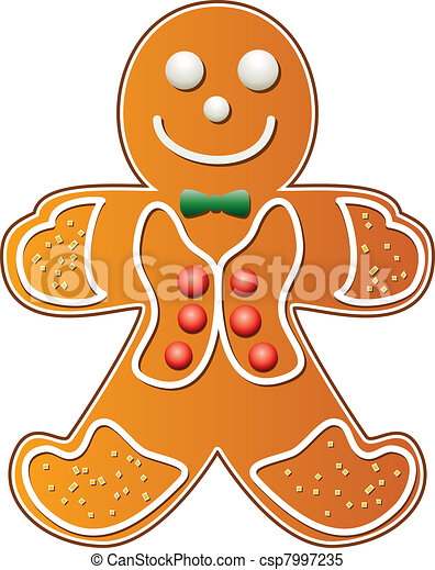 Vector of gingerbread cookie man - vector illustration of gingerbread ...