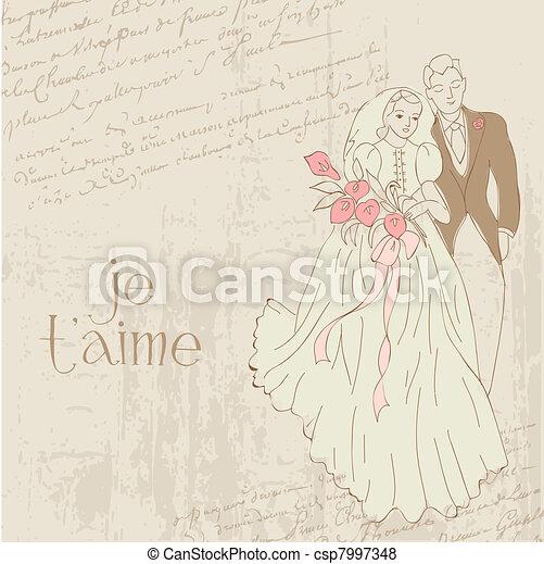 Vintage Wedding Card - for design, invitation, congratulation, scrapbook - csp7997348