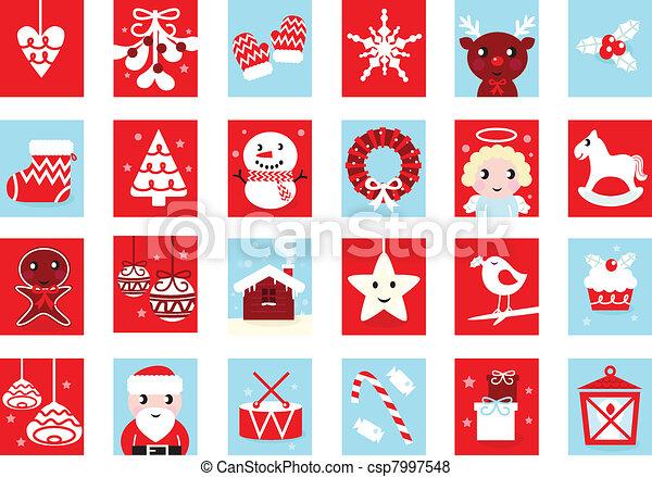 Advent calendar, retro christmas icons isolated on white   - csp7997548