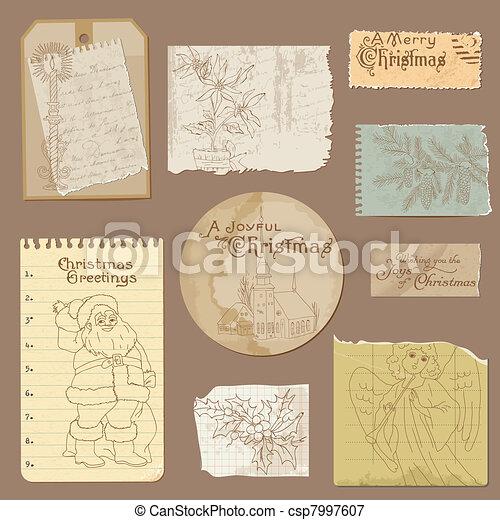 Set of Old paper Christmas Vintage Design Elements in vector - csp7997607