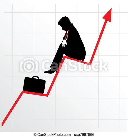 Sitting businessman on successful diagram - csp7997866