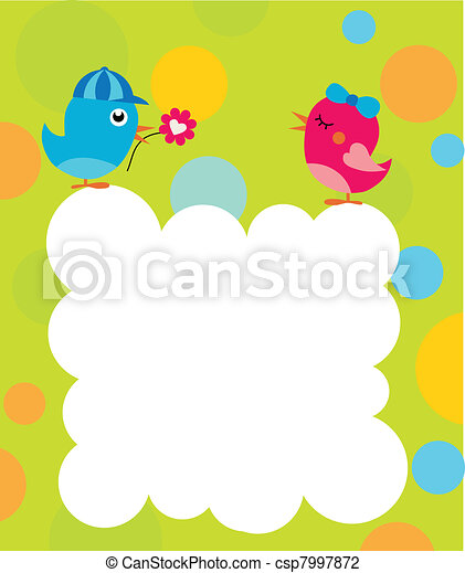 greeting card template with two birds - csp7997872