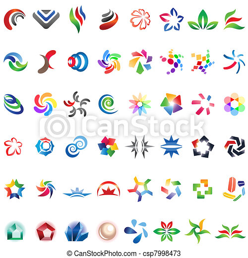 48 different colorful vector icons: (set 3) - csp7998473