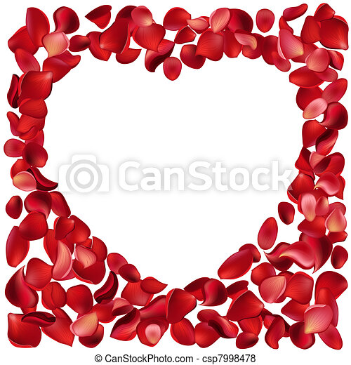 Blank frame made of red rose petals - csp7998478