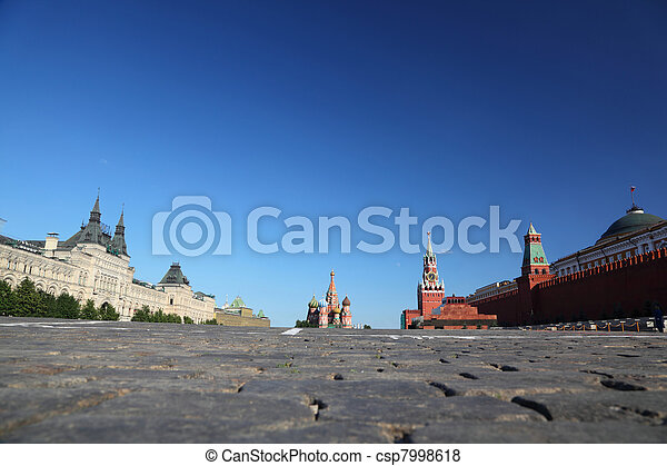Red Square in Moscow, Russian Federation. National Landmark. Tourist Destination. - csp7998618