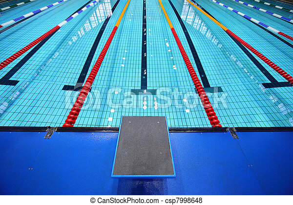 In center one platform for  start and lane of swimming pool - csp7998648