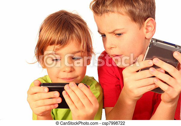 small girl and boy write messages to each other and compare telephones - csp7998722