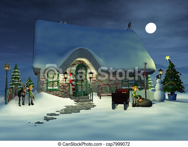Toon Santa watching his elves. - csp7999072
