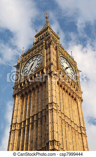 Big Ben is famous English clock chimes in Gothic style in London. Big Ben is one of London's best-known landmarks
