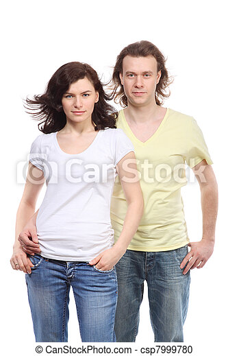 Portrait of young couple in jeans, serious boy embraces girl - csp7999780