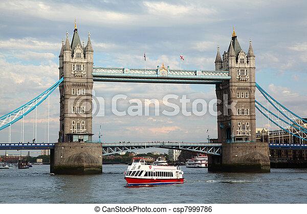 Tower Bridge in London. Tower Bridge is one of most recognizable bridges in world. - csp7999786