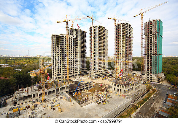 Building of high-rise apartment in the forest zone at summer day - csp7999791