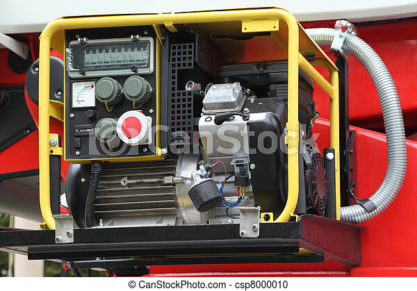 Black panel with petrol compact electricity generator inside red fire engine - csp8000010