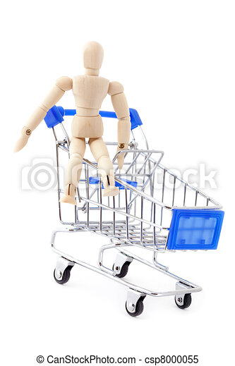 Wooden doll sitting in the metal shopping cart. - csp8000055