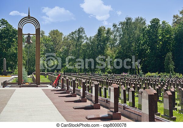 Eternal flame, belfry and obelisks at the Military Memorial of the Preobrazhenskoye cemetery. - csp8000078