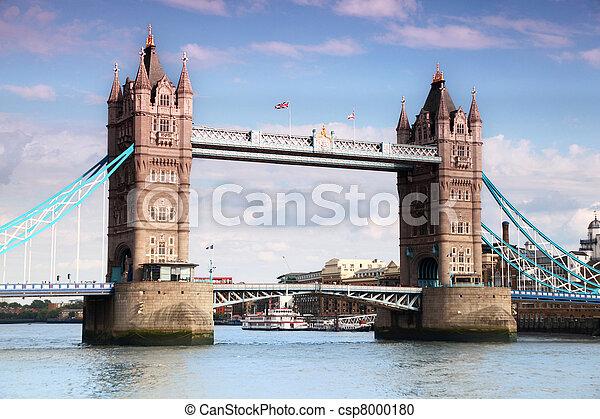 Tower Bridge in London. Tower Bridge is one of most recognizable bridges in world. - csp8000180