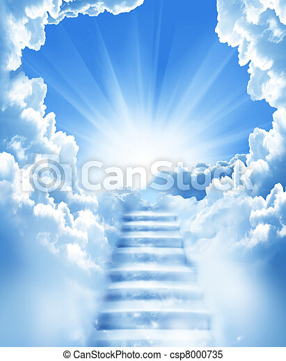 escalier, ciel - csp8000735