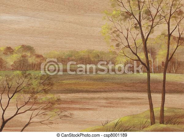 Landscape on wood veneer - csp8001189