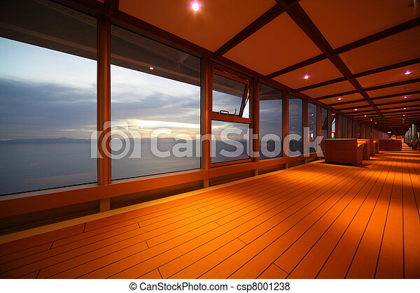corridor on cruise ship. row of lamps. beautiful view  through window. - csp8001238