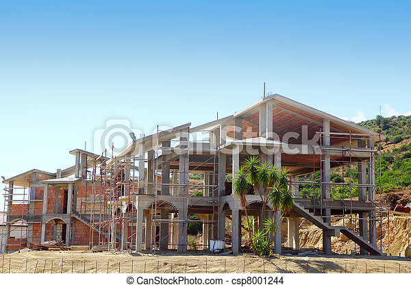 Sceleton of new suburb cottage house with front staircase and palm trees - csp8001244