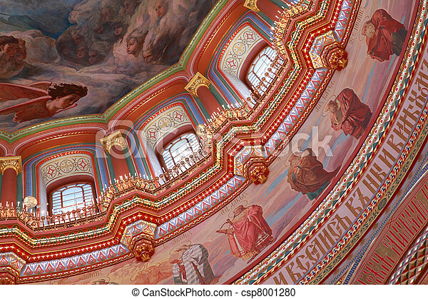 Pictured ceiling and windows adorned by candles inside Cathedral of Christ the Saviour in Moscow, Russia - csp8001280