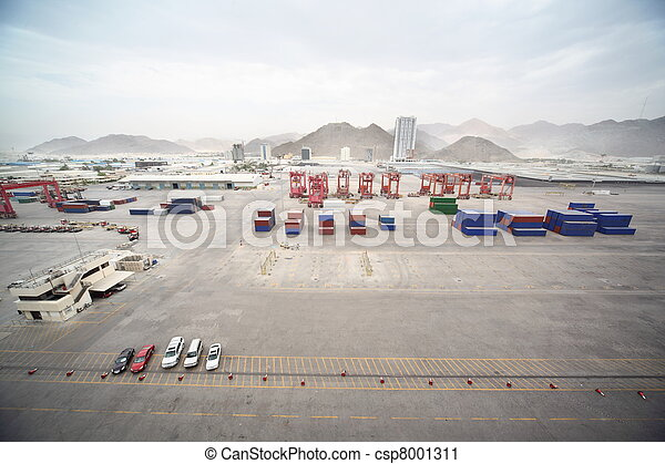 cars, many cargos, buildings and other constructions in port. - csp8001311