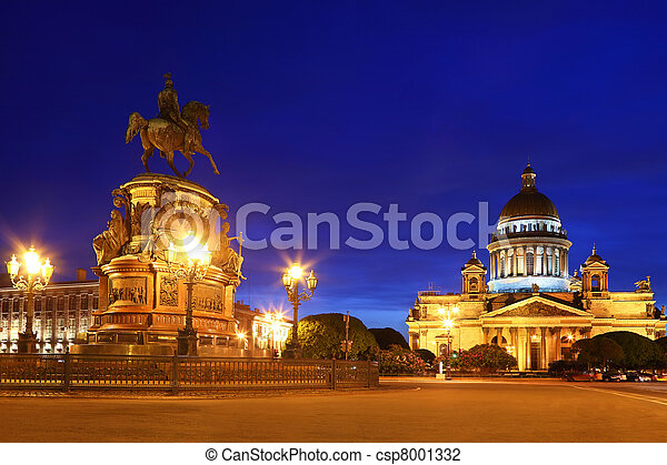 Monument to Emperor Nicholas I and St. Isaac\'s Cathedral (Saint-Petersburg)