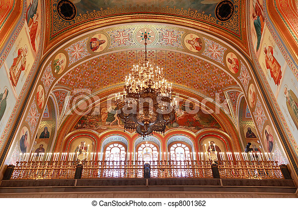 Ceiling with lusters adorned by candles inside Cathedral of Christ the Saviour in Moscow, Russia - csp8001362