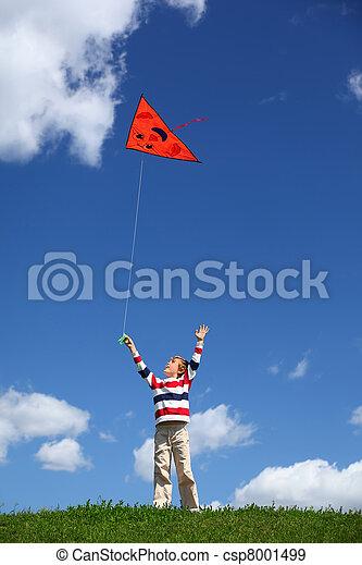 Boy starts air serpent of triangular form in sky - csp8001499