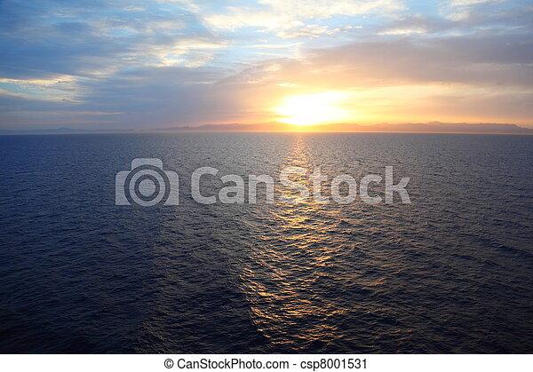 vacker, Vatten, däck, kryssning, Skepp, solnedgång,  under, synhåll - csp8001531