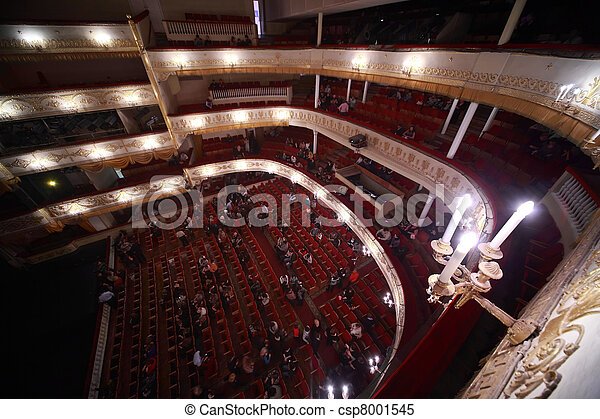 Audience go out from hall, after completion Monte Carlo of operetta Count Cristo in Moscow Theater of Operetta. Moscow Operetta Theater has been created in beginning of XX-th century. - csp8001545