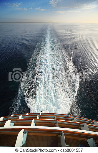 beautiful view from stern of big cruise ship. sea, skyline, splashes.
